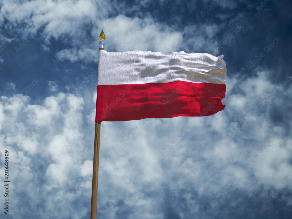 Photo & Art Print Poland flag Silk waving made transparent fabric