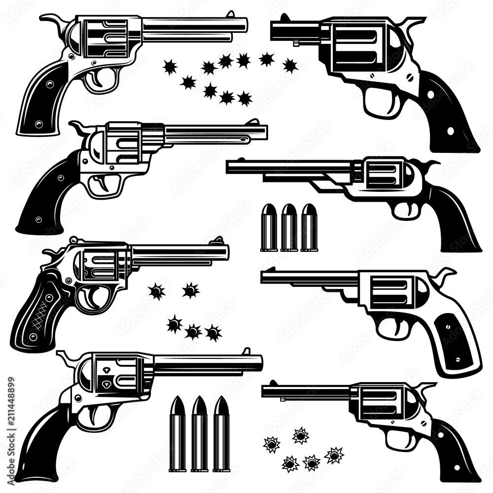Fototapeta Set of revolver illustrations. Design element for logo, label, emblem, sign.