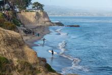 Surfers On Beach In Santa Cruz