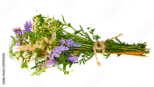 Cuadros en Lienzo Wildflower tied in a bunch isolated on the white background.