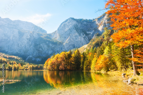 Foto op Canvas Herfst Colorful autumn trees on the shore of Hinterer Langbathsee lake in Alps mountains, Austria.