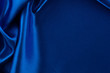 canvas print picture - Abstract silk luxury background, piece of cloth, deep blue cloth texture