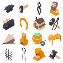 Blacksmith Tools Icons Set. Is...