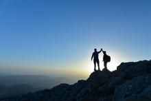 Couple Hikers Success Concept ...