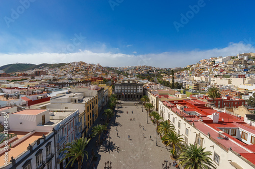 Panoramic view on Plaza Mayor of Santa Ana and colorful residential structures of Las Palmas city, Gran Canaria, Canary islands, Spain