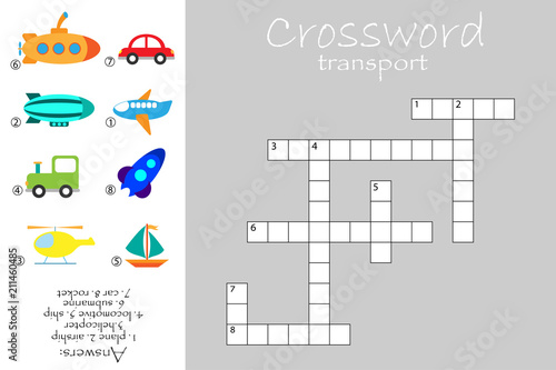Сrossword for children transport theme fun education game for kids