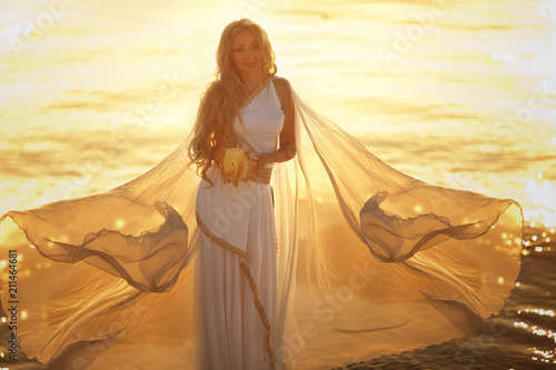 Obraz na plátne Beautiful girl in a long white wedding dress in Greek style is the old Greek god