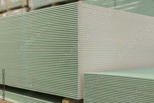 Pallet with plasterboard in the building store  Warehouse