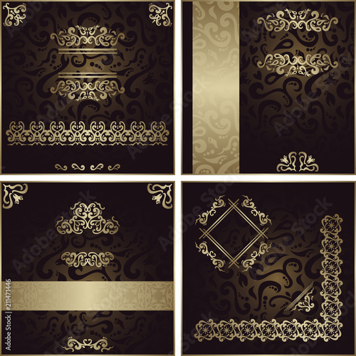 Collection Of Invitation Cards With Decorative Floral Elements On