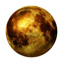 Full Golden Moon Isolated On W...