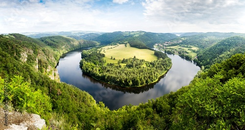 Fotografie, Obraz  View of Vltava river from Solenice viewpoint, Czech Republic