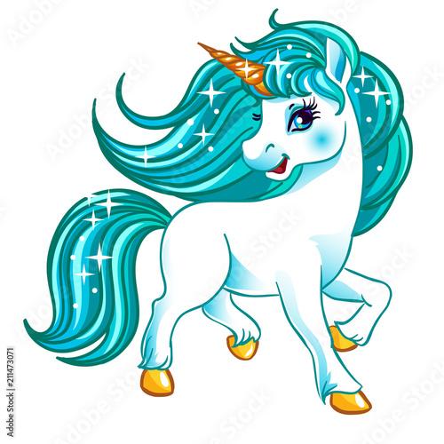 Obraz na plátně Fantasy white unicorn with blue hair.