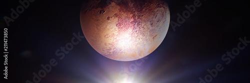 Foto dwarf planet Pluto lit by the distant Sun
