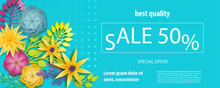 Horizontal Paper Cut Flower Sale Banner. Colored Chamomile Bud Origami Isolated Vector Background. Floral Discount Design. Craft 3d Plant Eco Card Template.