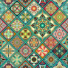 Naklejka Ethnic floral mandala seamless pattern. Colorful mosaic background.