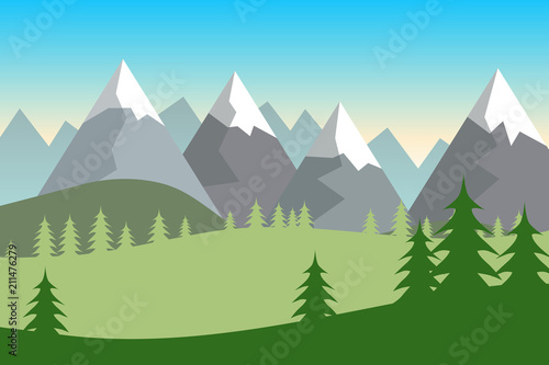 Foto op Canvas Lichtblauw Flat green summer forested landscape with hills covered in snow.