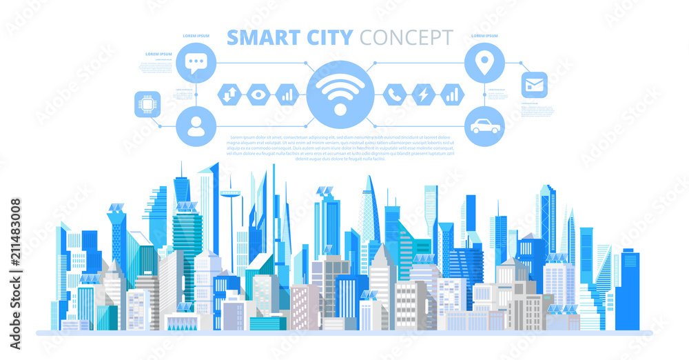 Fototapeta Smart city with smart services and icons