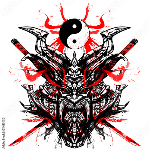 Bloody samurai mask with swords Obraz na płótnie