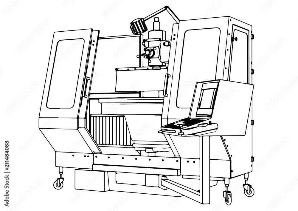 Fototapeta sketch of machine vector