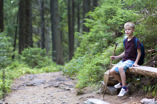 f313e09e10915 Young cute child boy with stick and backpack sitting alone on lit by bright  summer sun rough tree trunk ...