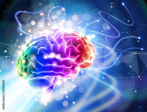 Human brain on a blue technological background surrounded by information fields, neural networks, Internet webs - the concept of modern technology, biotechnology, artificial intelligence / vector draw Wall mural