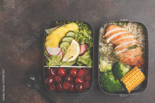 Poster Assortiment Healthy meal prep containers with grilled chicken with fruits, berries, rice and vegetables. Takeaway food, copy space