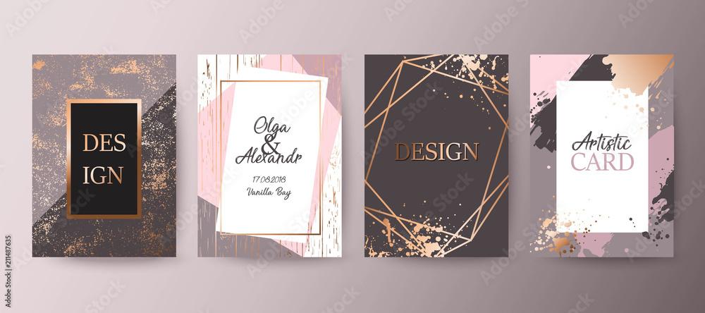 Fototapety, obrazy: Gold, pink brochure, flyer, invitation, card