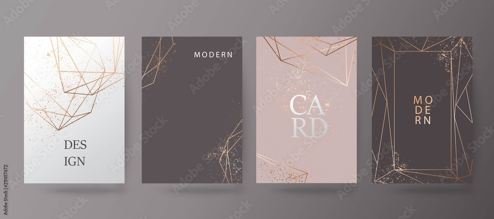 Fototapety, obrazy: Gold, pink brochure, flyer, invitation, card