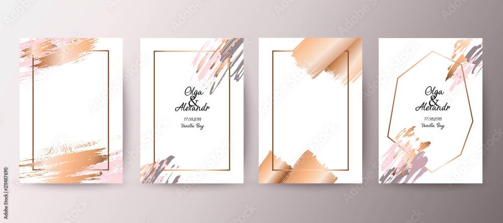 Fototapeta Gold, pink brochure, flyer, invitation, card