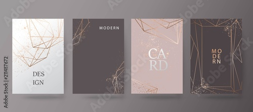 Gold, pink brochure, flyer, invitation, card Fototapet