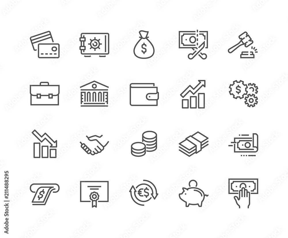 Fototapeta Simple Set of Finance Related Vector Line Icons. Contains such Icons as Taxes, Money Management, Handshake and more. Editable Stroke. 48x48 Pixel Perfect.