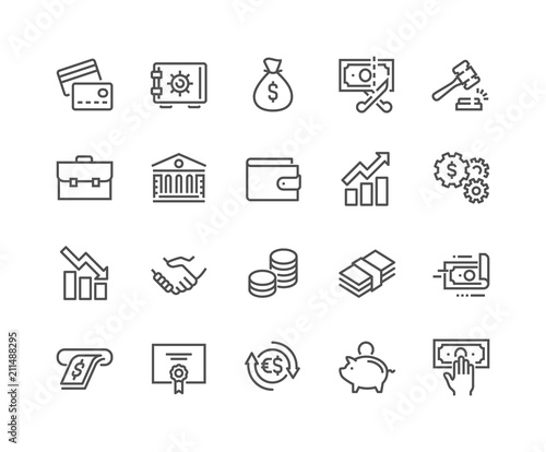 Obraz Simple Set of Finance Related Vector Line Icons. Contains such Icons as Taxes, Money Management, Handshake and more. Editable Stroke. 48x48 Pixel Perfect. - fototapety do salonu