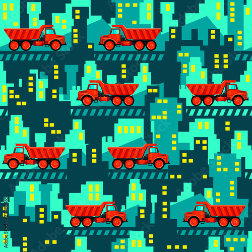 Poster de jardin Route Dumper trucks on the background of industrial buildings. Seamless pattern. All elements are located on different layers and can be easily disabled.