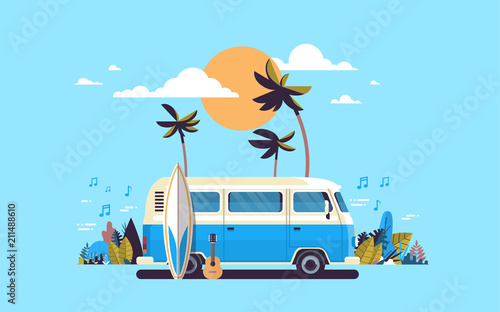 Photo Summer vacation surf bus sunset tropical beach retro surfing vintage melody gree
