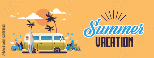 Photo Summer vacation surf bus sunset tropical beach retro surfing vintage greeting ca