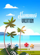 sunrise tropical palm beach balls view summer vacation seaside sea ocean flat vertical lettering vector illustration