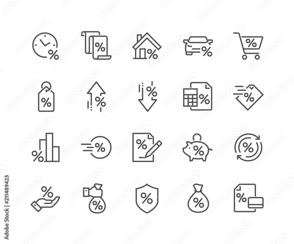 Photo  Simple Set of Loan Related Vector Line Icons