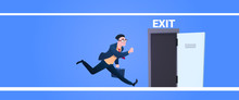 Businessman Run To Open Exit D...