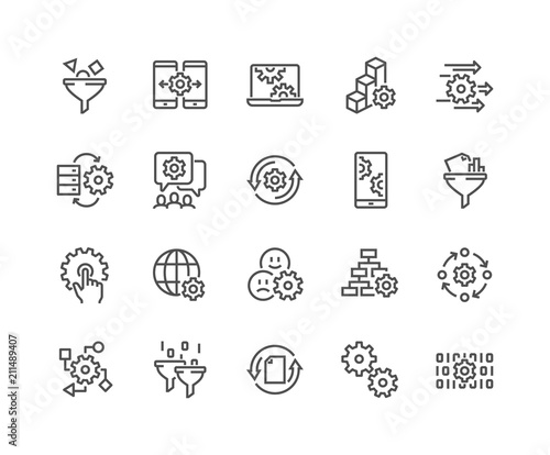 Cuadros en Lienzo Simple Set of Data Processing Related Vector Line Icons