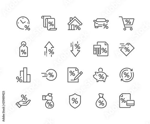 Cuadros en Lienzo Simple Set of Loan Related Vector Line Icons