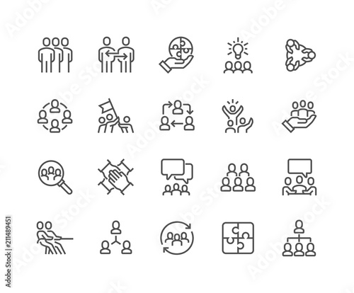 Photo  Simple Set of Team Work Related Vector Line Icons