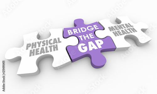 Photo  Mental Physical Health Bridge the Gap Puzzle Pieces 3d Illustration