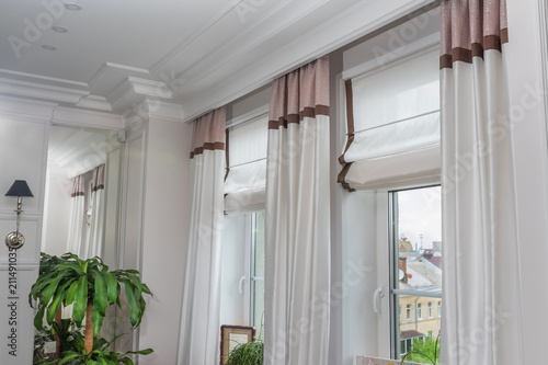 Photo Curtains in the interior, Curtain interior decoration in living room