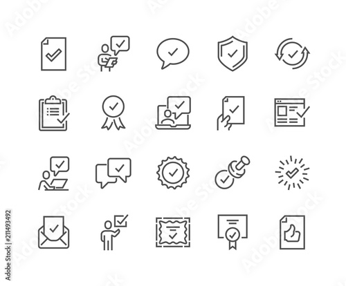 Fototapeta Simple Set of Approve Related Vector Line Icons. 