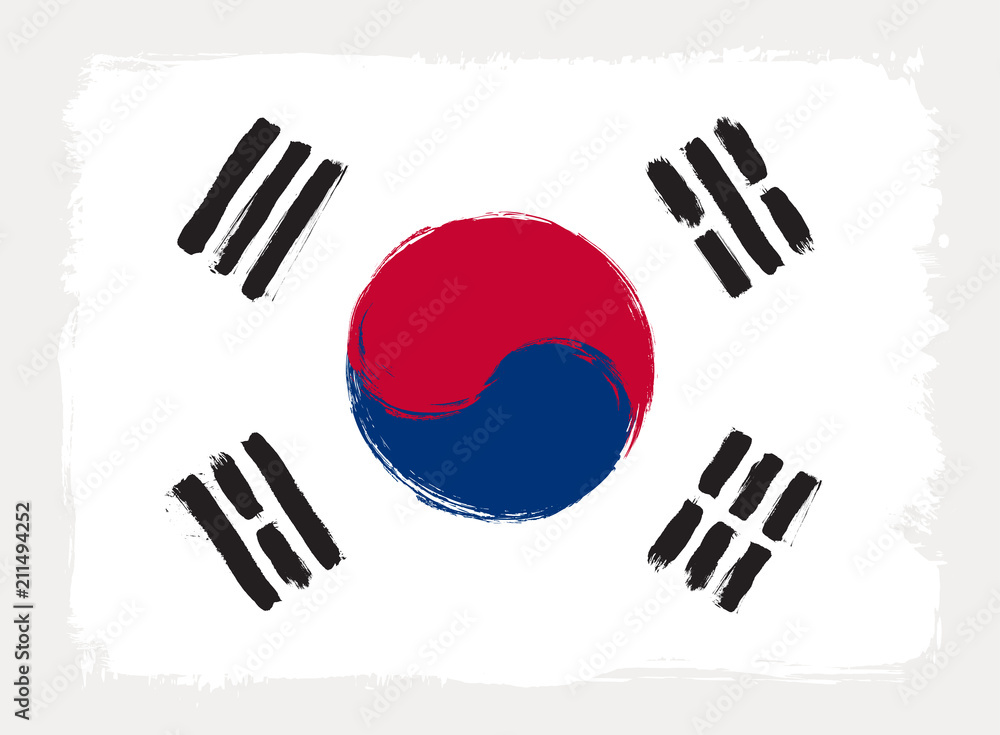 Fototapeta South Korea flag drawn in grunge painting style. Vector illustration.