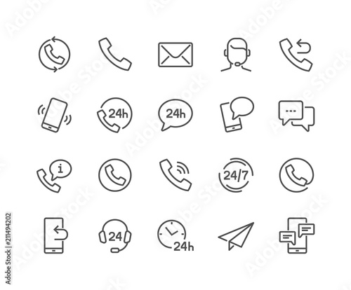 Fotografía  Simple Set of Contact Related Vector Line Icons