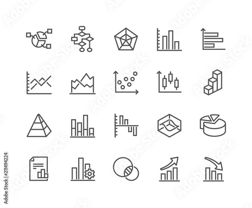 Foto Simple Set of Charts and Diagrams Related Vector Line Icons