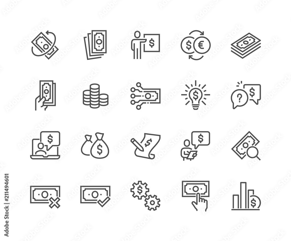 Fototapeta Simple Set of Money Related Vector Line Icons. 