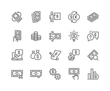 Simple Set Of Money Related Vector Line Icons.  Contains Such Icons As Business Idea, Financial Audit, Report And More. Editable Stroke. 48x48 Pixel Perfect.