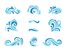 Wave Icons, Set Of Simple Swir...